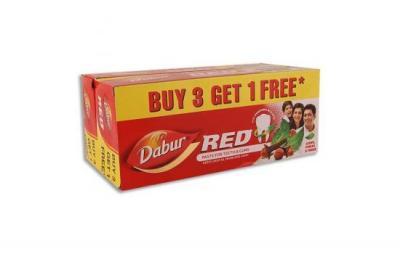 Dabur Red Toothpaste Pack of 3 + 1 U (units)
