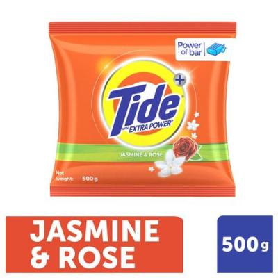 Tide Plus Detergent Washing Powder - Extra Power Jasmine & Rose, 500 gm Pouch