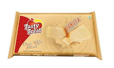 Tasty Treat Cream Wafer Biscuit, Vanilla, 75g